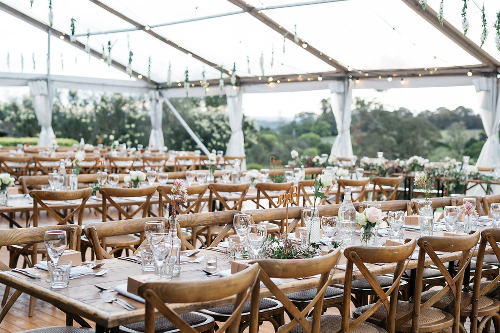 luxury country wedding reception styling in marquee