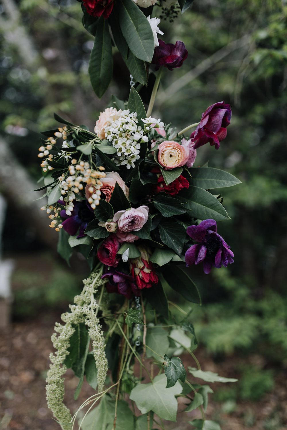 flower details at countryside ceremony