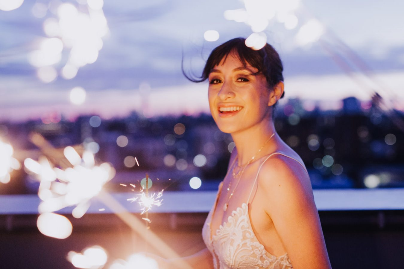 sunset London rooftop wedding