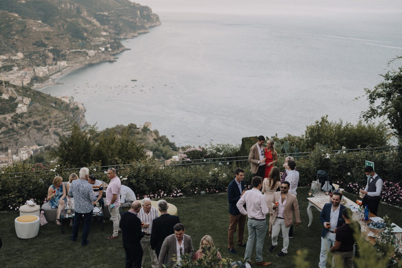 guests and the view of the Amalfi coast, Ravello, Italy