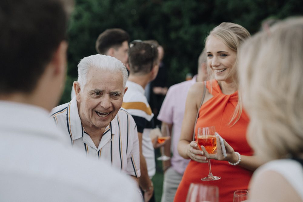 guests enjoying pre wedding drinks at the Belmond hotel, Ravello, Italy